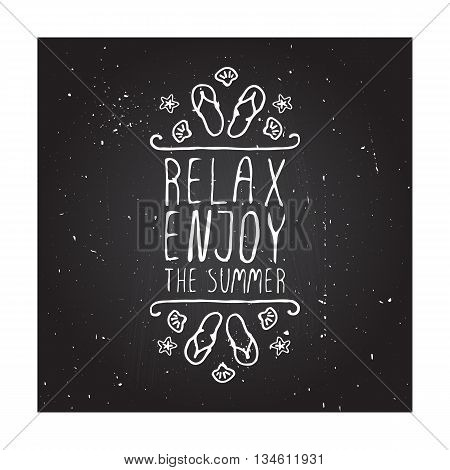 Hand-sketched summer element with flip flops and starfish on blackboard background. Text - Relax, enjoy the summer