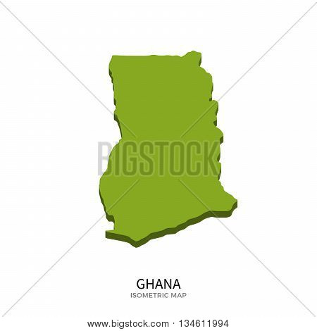 Isometric map of Ghana detailed vector illustration. Isolated 3D isometric country concept for infographic
