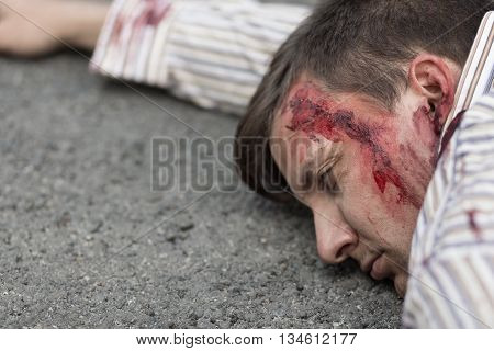 Injured Man After Car Accident