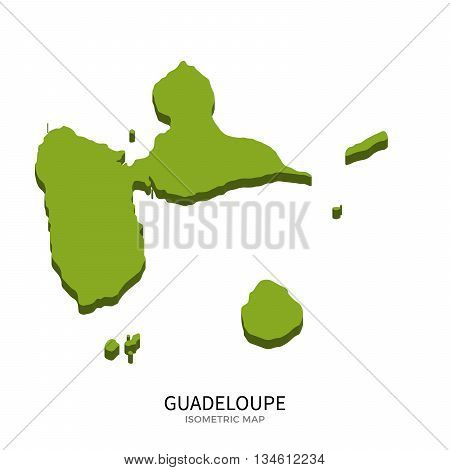 Isometric map of Guadeloupe detailed vector illustration. Isolated 3D isometric country concept for infographic