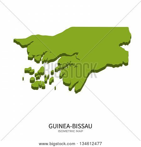 Isometric map of Guinea-Bissau detailed vector illustration. Isolated 3D isometric country concept for infographic