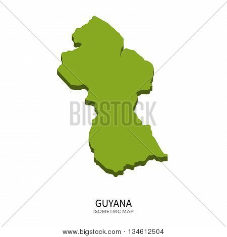 Isometric map of Guyana detailed vector illustration. Isolated 3D isometric country concept for infographic
