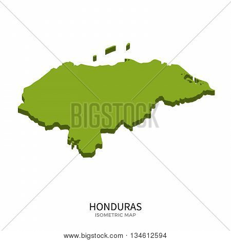 Isometric map of Honduras detailed vector illustration. Isolated 3D isometric country concept for infographic
