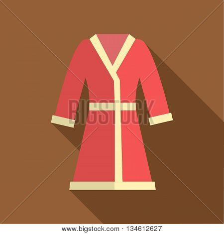 Red bathrobe icon in flat style on a brown background