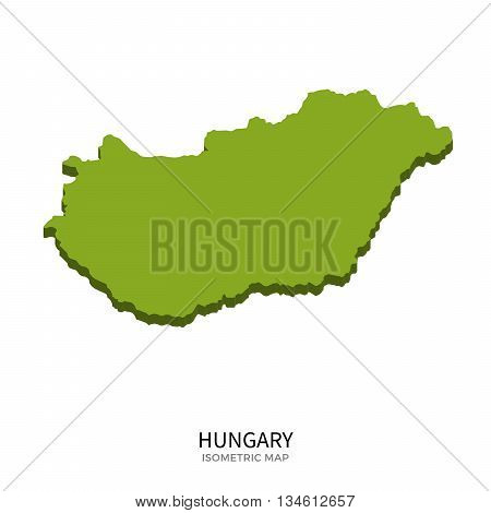 Isometric map of Hungary detailed vector illustration. Isolated 3D isometric country concept for infographic
