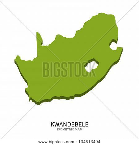 Isometric map of KwaNdebele detailed vector illustration. Isolated 3D isometric country concept for infographic