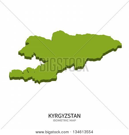 Isometric map of Kyrgyzstan detailed vector illustration. Isolated 3D isometric country concept for infographic