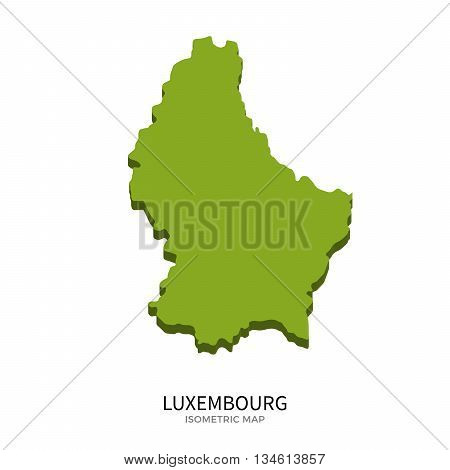Isometric map of Luxembourg detailed vector illustration. Isolated 3D isometric country concept for infographic