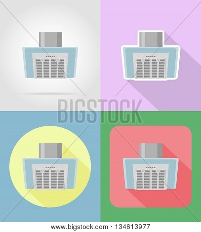 extract hood household appliances for kitchen flat icons vector illustration isolated on background
