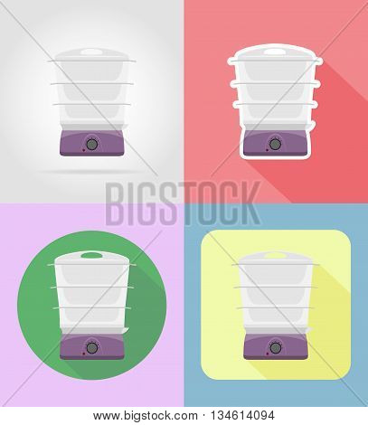 steamer household appliances for kitchen flat icons vector illustration isolated on background