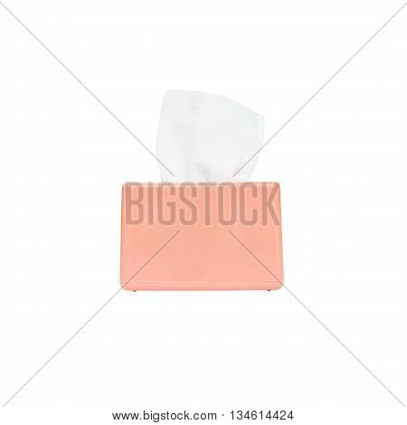 Closeup pink box of toilet paper with white toilet paper isolated on white background with clipping path