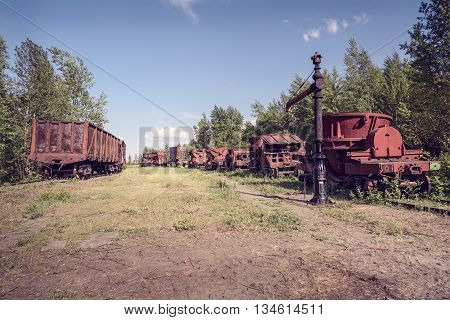 Old Industrial Railway Cars For Metallurgy Plant