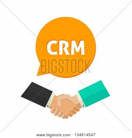 CRM vector icon, customer relationship management logo label, shaking hands logo sign, concept of communication system, service badge, support symbol, flat icon modern design isolated on white