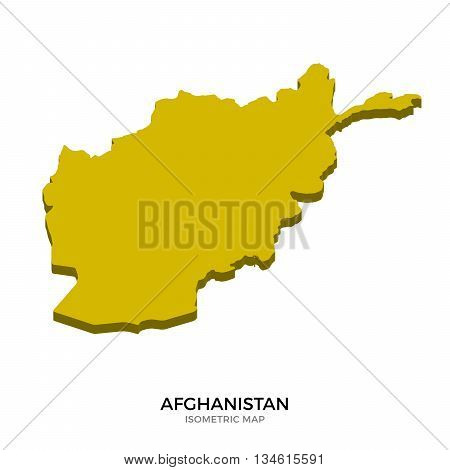 Isometric map of Afghanistan detailed vector illustration. Isolated 3D isometric country concept for infographic