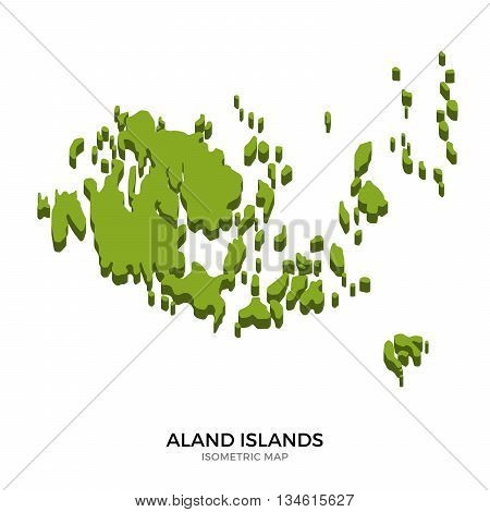 Isometric map of Aland Islands detailed vector illustration. Isolated 3D isometric country concept for infographic