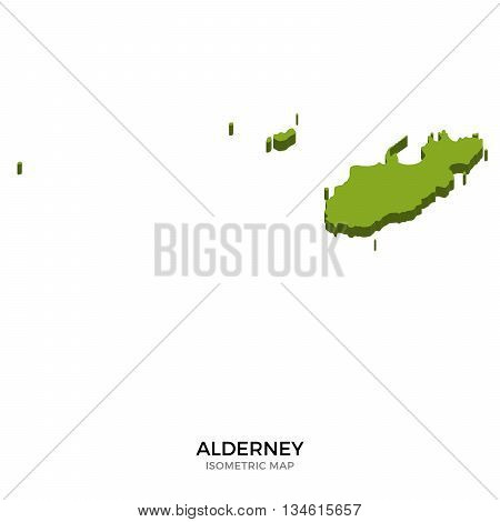 Isometric map of Alderney detailed vector illustration. Isolated 3D isometric country concept for infographic