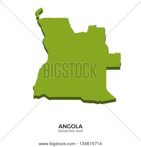 Isometric map of Angola detailed vector illustration. Isolated 3D isometric country concept for infographic
