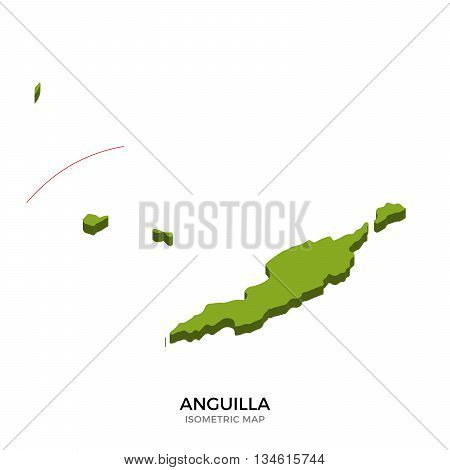 Isometric map of Anguilla detailed vector illustration. Isolated 3D isometric country concept for infographic