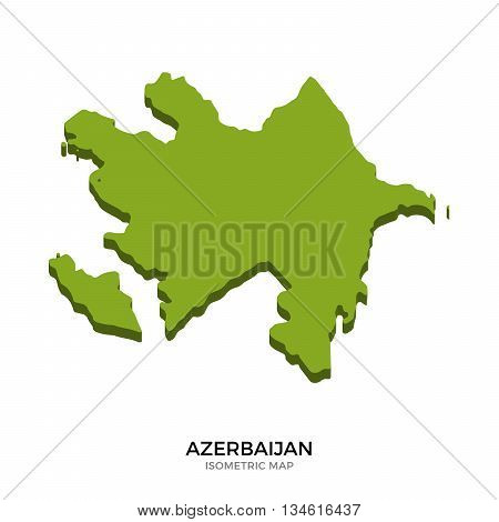 Isometric map of Azerbaijan detailed vector illustration. Isolated 3D isometric country concept for infographic