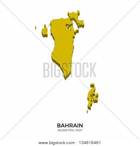Isometric map of Bahrain detailed vector illustration. Isolated 3D isometric country concept for infographic