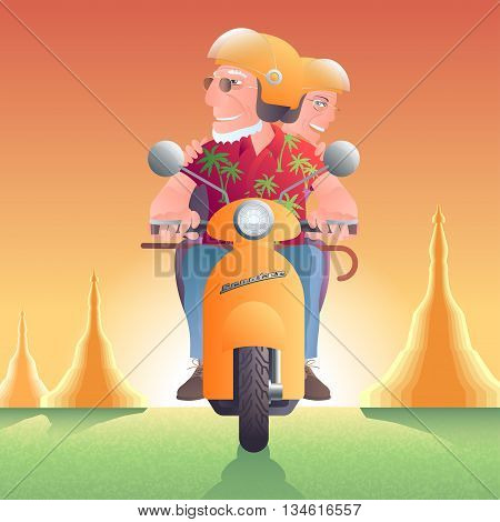 Old people driving scooter in front of pagoda vector illustration