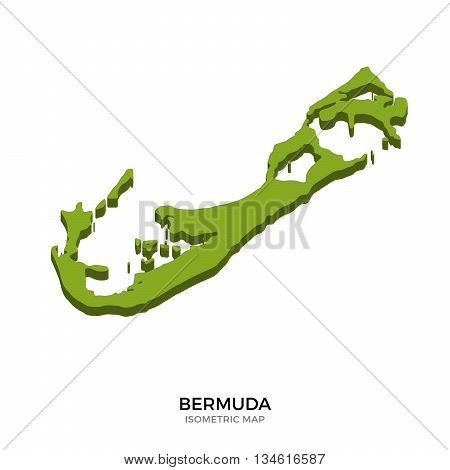 Isometric map of Bermuda detailed vector illustration. Isolated 3D isometric country concept for infographic