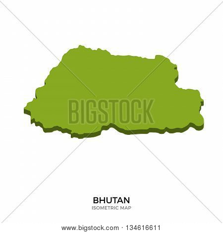 Isometric map of Bhutan detailed vector illustration. Isolated 3D isometric country concept for infographic