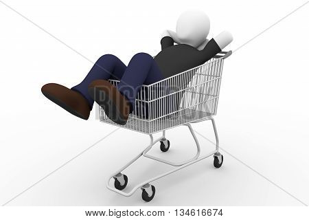 A man lying on the supermarket cart. He enjoys shopping experience. 3d illustration