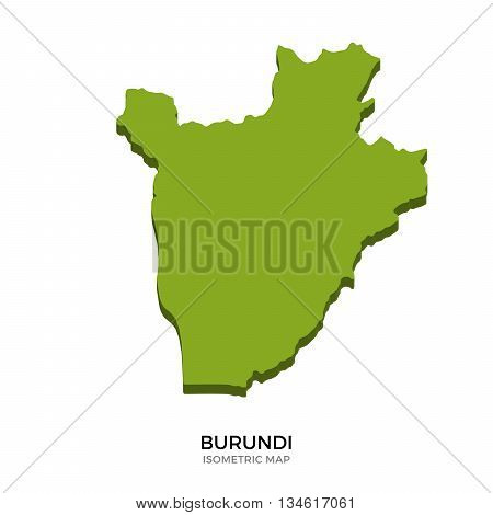 Isometric map of Burundi detailed vector illustration. Isolated 3D isometric country concept for infographic