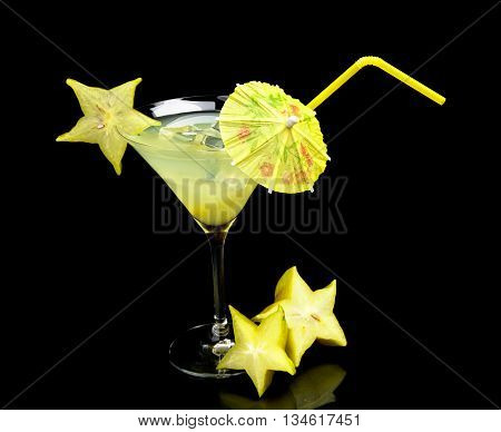 Cosmo Margarita Drink With Carambola With Ice On Black