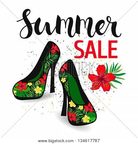 Elegant female shoes with a floral pattern on a high heel. Poster