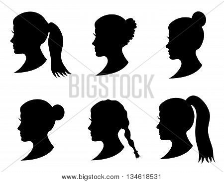 Set of black silhouette girl head with different hairstyle: tail ponytail bun braid hairstyle. Young women face in profile with long hair. Isolated on white background. Vector illustration