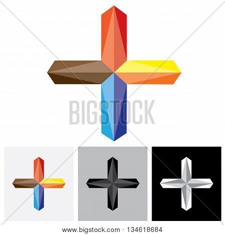 Abstract Creative Plus Vector Logo Icon ( Positive Sign )