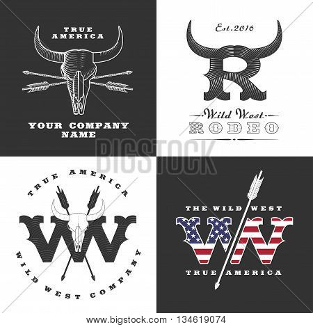 Wild West concept illustrations. Logo for cowboy, rodeo, Texas