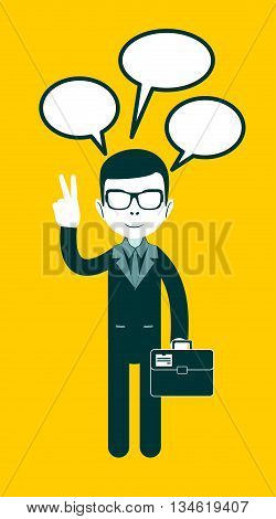 Icon black man with dialogue and peace sign hand, vector illustration