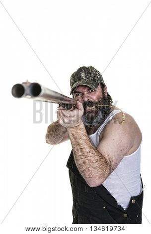 Angry hillbilly aiming a shotgun on a white background.
