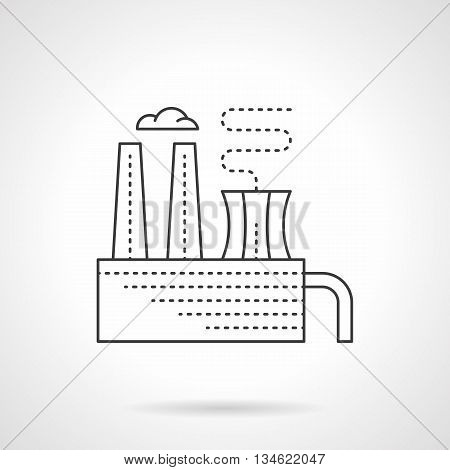 Factory building with chimney and smoke. Plant of processing chemical waste. Industrial sites and objects. Flat line style vector icon.