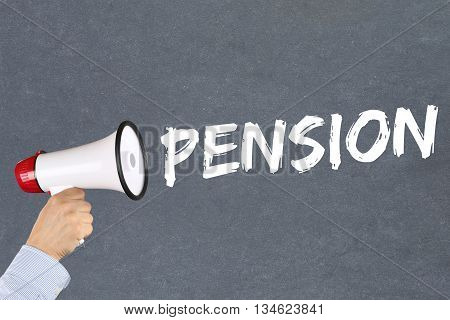 Pension Retirement Business Concept Megaphone