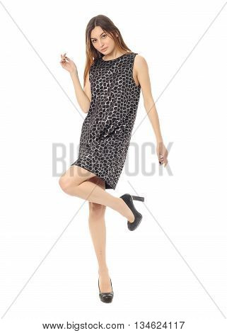 Beautiful Blonde Teenager In Cool Dress Isolated