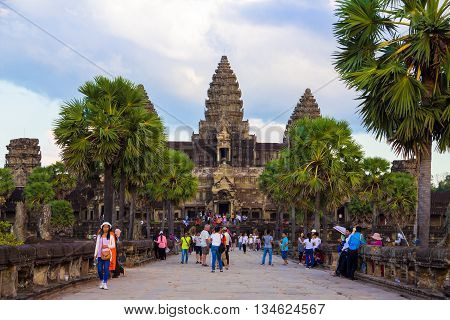Seamreap, Cambodia-Dec 06 : Angkaor Wat, ancient architecture on December 06, 2015 in Seamreap, Cambodia