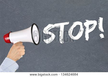 Stop Wait Waiting Business Concept Career End Ending Megaphone