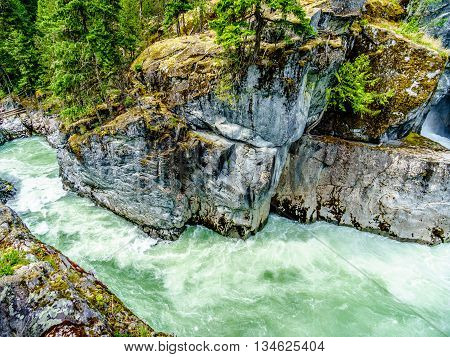 White Water Rapids at the Nairn Falls in Nairn Falls Provincial Park between Whistler and Pemberton in British Columbia, Canada
