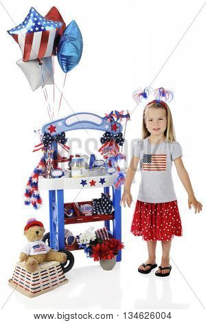 An adorable preschooler standing by her Fourth of July vendor stand.  The stand's signs are left blank for your text.  On a white background.