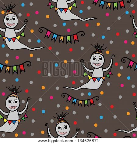 Seamless with smile ghost with small flags in hands. Vector illustration seamless for banner card invitation textile fabric wrapping paper.