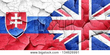 Slovakia flag with Great Britain flag on a grunge cracked wall