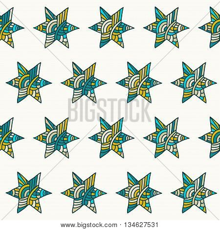 Doodle handmade stars vector seamless pattern background