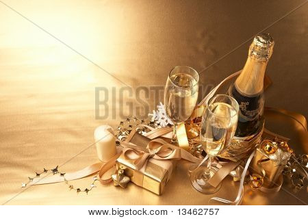 Champagne and gift