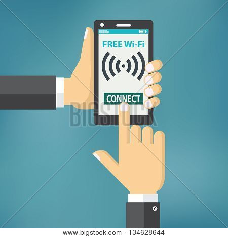 Hand holding smartphone with wifi. Wireless connection business concept in flat design.