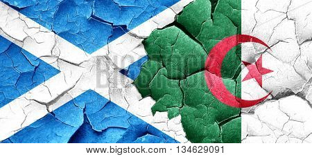 scotland flag with Algeria flag on a grunge cracked wall