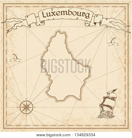 Luxembourg Old Treasure Map. Sepia Engraved Template Of Pirate Map. Stylized Pirate Map On Vintage P